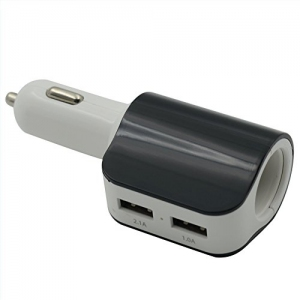 3 in 1 High Speed Multiple Car Chargers Dual Port USB Car Charger[2 port USB+1 Cigarette Lighter]
