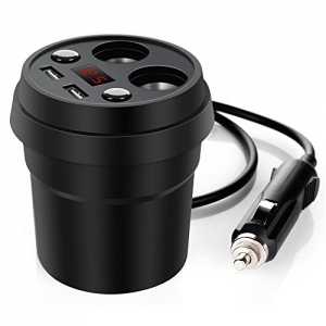 Car Cup Charger, Dual USB Ports Car Charger 12V/24V with 2-Socket Cigarette Lighter
