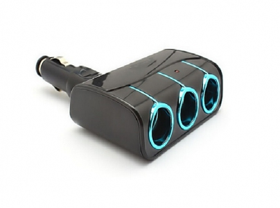 1.2A Dual USB DC Car Charger With  3 Way Multi Socket Car Cigarette
