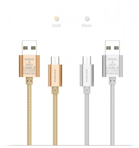 Cable - Phone Cable Murah Harga Price |PINENG PN306 Gold/Silver Micro Charging Cable Data Cable | Kabel USB Fast Charging